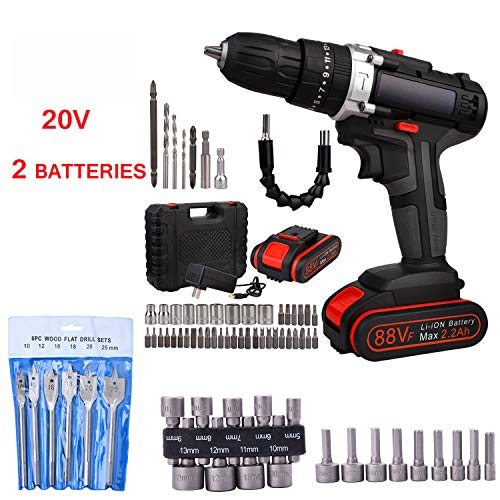 Ewer Cordless Drill Set, 20V Drill Driver 2x2000mAh Batteries, Power Drill Set with 3/8 inch, (Includes Battery and Charger), Screwdriver Bit Set and Drill Bits Set