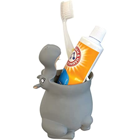 Amazon Com Nydecor Animal Mini Ceramic Toothbrush Holder Stand For Bathroom Vanity Countertops 4 Pack Cat Bear Dinosaur Penguin Kitchen Dining