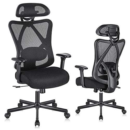 SUNNOW Ergonomic Office Chair, Mesh Computer Chair with Adjustable Lumbar Support & Thick Seat Cushion, Adjustable Headrest & Armrest, 135°Reclining, Swivel Executive Task Chair for Office, Work