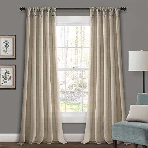 Lush Decor Decor Dark-Linen Burlap Knotted Tab-Top Window Curtain Panel Pair, (95