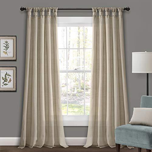 "Lush Decor Dark-Linen Burlap Knotted Tab-Top Window Curtain Panel Pair (84"" x 45"")"