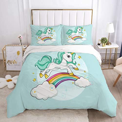 NEWAT Juego de funda de edredón y funda de almohada, diseño de unicornio mágico en 3D, 140 x 210 cm