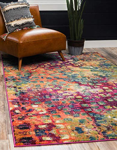 Unique Loom Jardin Collection Colorful Abstract Multi Area Rug (5' 0 x 8' 0)