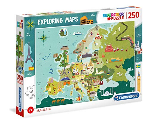 Clementoni - 29062 - Exploring Maps - Great Places In Europe - 250 Pezzi - Made In Italy - Puzzle Bambini 7 Anni +