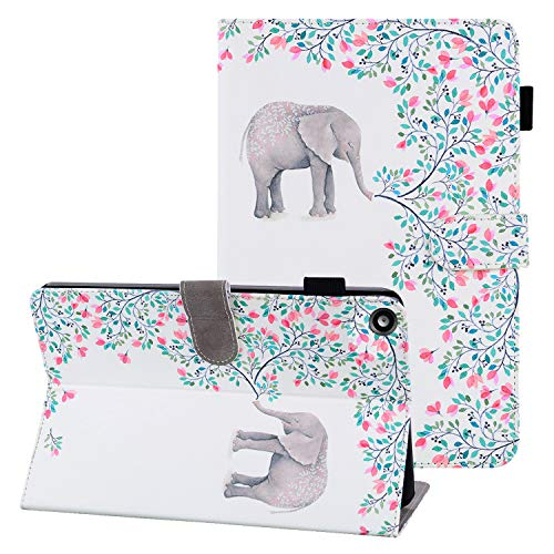 Coopts Kindle Fire HD 8 Case 8th Generation 2018, Amazon Kindle Fire HD 8 7th/6th Gen 2017/2016 Case with Pen Holder, Soft Microfiber Lining Stand Photo Slots Case for Fire HD 8 2018,Elephant & Floral