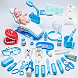 HYISHION 30pcs Maletín Medicos Juguetes Disfraz de Enfermería Clínica Dental Cosplay Kit Enfermera Accesorios con Sonido para Infantil,Azul,30pcs