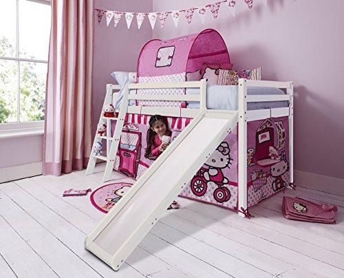 Noa and Nani Hello Kitty Kinder-Hochbett mit Zelt und Rutsche in Weiß gekalktem Kiefer 70wwhk