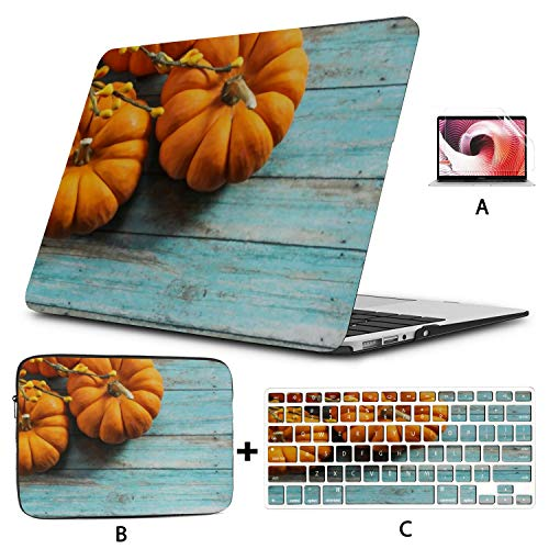 MacBook Pro Case Fall Background Mini Pumpkins Autumn On Compatible with 15' Pro Touch Bar 2016-2019 Version A1990/A1707 Plastic Case Shell Case&Sleeve Bag&Keyboard Skin&Screen Protector