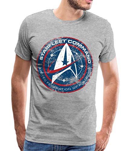 Spreadshirt Star Trek Discovery Emblème Starfleet T-Shirt Premium Homme, 4XL, Gris chiné