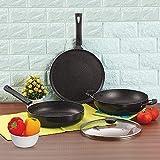 Anjali Fab Nonstick Granita Induction 3 Pcs Gift Set, Black