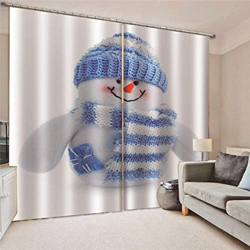 empty Eyelet Blackout Curtains Snowman with blue bib Thermal Insulated Energy Saving Curtains for Bedroom Two Panels-2 panels x 55' width x 70' drop