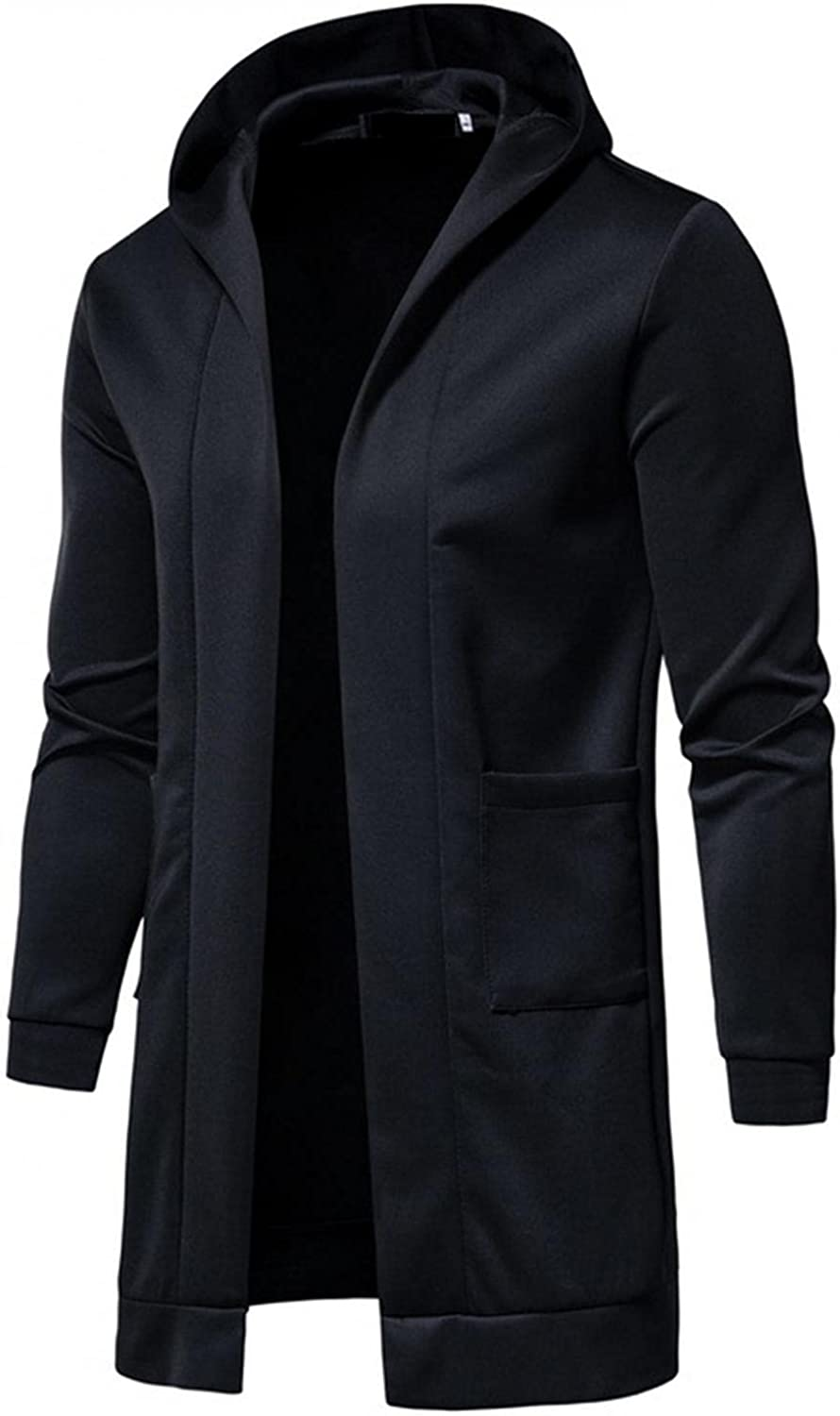 LEIYAN Mens Hooded Trench Coat Casual Long Sleeve Solid Color Slim Fit Windbreaker Autumn Winter Work Coat