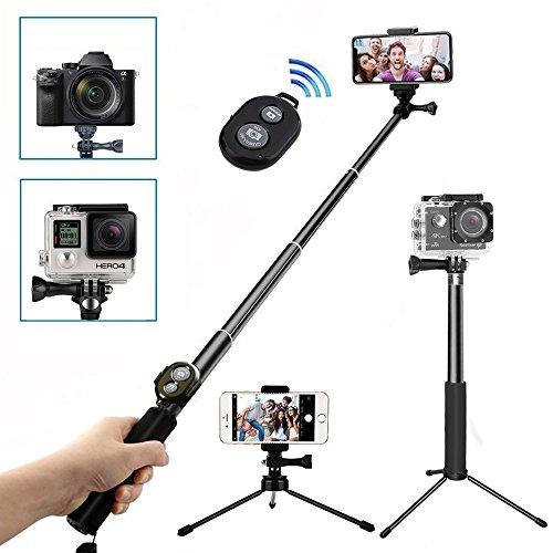 Bastone Selfie Treppiede Bluetooth,Wineecy Selfie stick Con Remote Shutter(per smartphone) e Aggiustabile Treppiede per GoPro Hero 6/5/4/3/2/1, Huawei, iPhone X/8/8P/7/7P/6/6P e Samsung Smartphone