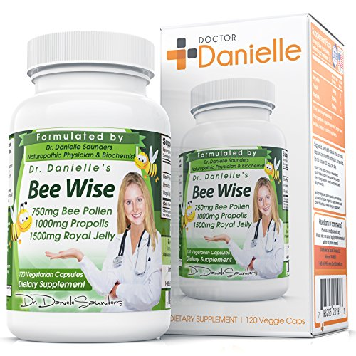 Dr. Danielle's Bee Wise -- Bee Well, Royal Jelly, Propolis, Beepollen in 4 Daily Capsules