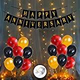 Party Propz Anniversary Decorations for Home Kit With Happy Anniversary Banner, Metallic Balloons 1set LED Lights Combo 54Pcs for 1st, 25th,50th Wedding Party Decoration,Mom DAD