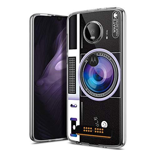 Capa Yoedge para Moto Z4 Play/Moto Z4, capa transparente com design de padrão ultrafina, fina, à prova de choque, Gel, TPU e capa traseira de silicone para Moto Z4 Play/Moto Z4 (câmera roxa)