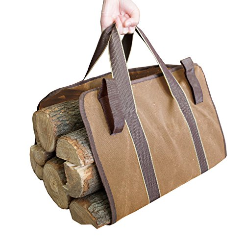 Seway Canvas Log Tote Bag Carrier Fireplace Firewood Totes Holder Sturdy Wood Carring Woodpile for Outdoor Tubular Stand by Hearth Stove