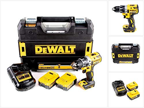 Dewalt DCD791P2-QW DCD791P2-QW-Taladro Atornillador sin escobillas XR 18V 13mm 70Nm con 2 baterías Li-Ion 5,0Ah con maletín TSTAK, 0 W, 18 V, Negro/Amarillo