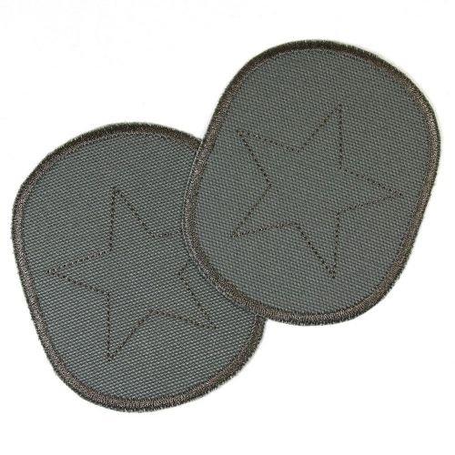 Knieflicken Set retro Sterne auf grau 2 Canvas Flicken zum aufbügeln 10 x 8 cm Aufbügler Hosenflicken Hosenflicken für Jungen Applikationen Bügelbilder