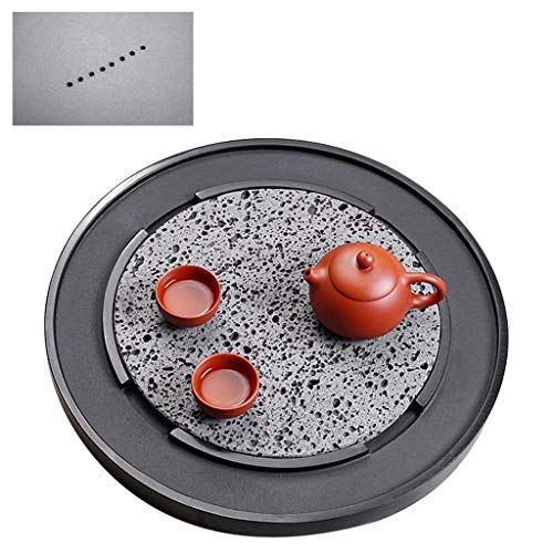 Kung Fu Tea Table Home Salon À Thé Plateau Réception D'affaires Salon De Thé Table Zenyi Thé Art Plateau Thé Ronde Thé Table (Color : Black, Size : 40 * 40 * 3cm)