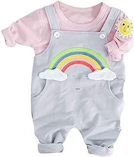 Cwemimifa Baby M/ädchen Kleidung Set Solid Top Faltenkragen Langarm Shirts Unifarben Pants Lang Bekleidungsset Kleinkind Outfits