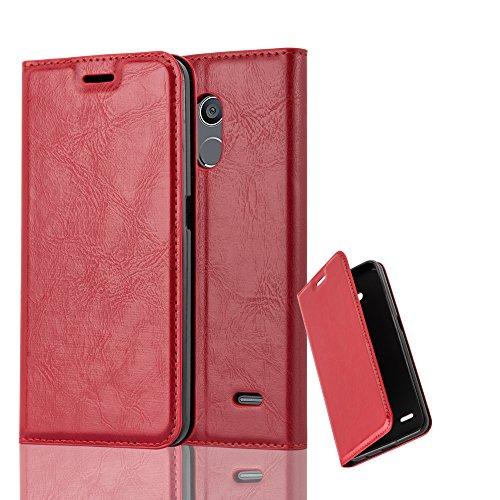 Cadorabo Hülle für ZTE Blade V7 LITE - Hülle in Apfel ROT – Handyhülle mit Magnetverschluss, Standfunktion & Kartenfach - Hülle Cover Schutzhülle Etui Tasche Book Klapp Style