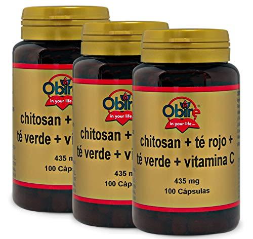 Chitosano + tè rosso + tè verde + Vit. C. 100 Capsule (Pack 3 pezzi)