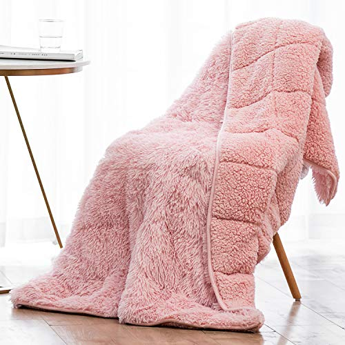 Wemore Shaggy Long Fur Faux Fur Weighted Blanket, Cozy and Fluffy Plush Sherpa Long Hair Blanket for Adult 15lbs, Fluffy Fuzzy Sherpa Reverse Heavy Blanket for Bed, Couch, Pink, 48 x 72 Inches