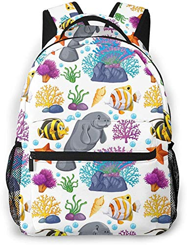 shorthaired cat set Basic Travel Laptop Backpack Cool School Bag-Sea Creatures