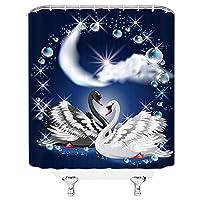 バレンタインシャワーカーテン美しいブラックホワイトスワン愛のシンボルバスルームの装飾ホームバス防水ポリエステルカーテン - 180X200CM