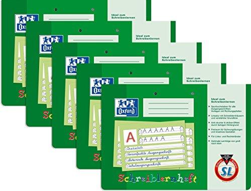 Oxford Die Cast Oxford 100050089 Schreiblernheft Schule 5er Pack A4 Quer 16 Blatt Lineatur SL (1. Klasse) Gelocht - Schreiben Lernen in der Grundschule und Förderschule (5er Pack, 1)
