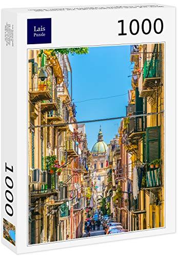 Lais Puzzle Vista su Una Strada Stretta alla Chiesa del Carmine Maggiore a Palermo, Sicilia, Italia 1000 Pezzi