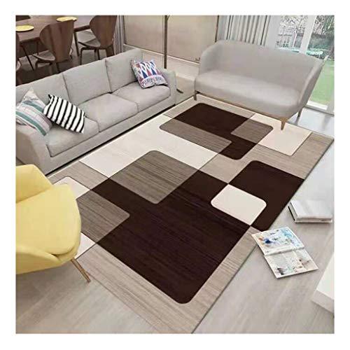 laagpolig designer tapijt Home woonkamer tapijt met contour cut strepen vierkant bladeren patroon voor vloerverwarming geschikt slaapkamer hal (kleur : 25, afmeting : 60 * 90cm)