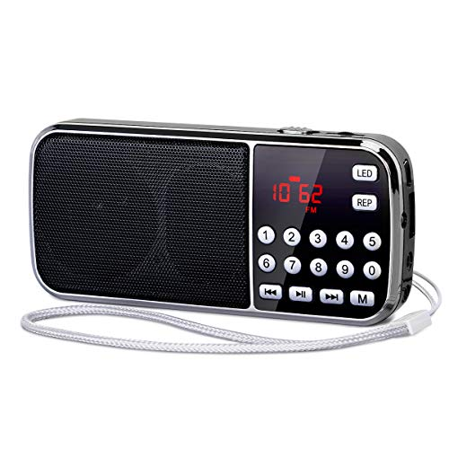 [Actualizado] PRUNUS J-189 Am/FM Radio Portatil Pequeña, Radio Bluetooth con Doble de Altavoces Graves Profundos, Reproductor de TF/USB/AUX / MP3, Linterna LED, con Pilas Recargables (Negro)