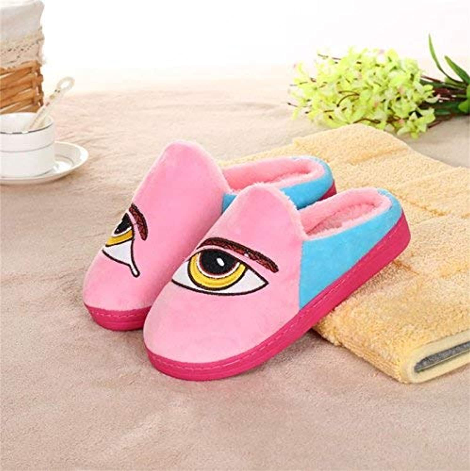 JaHGDU Ladies Casual Wool Slippers are Warm in Autumn and Winter Leather Slippers bluee Pink pink Red for Women