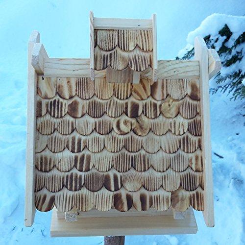 Vogelhaus Schreinerarbeit Futterhaus Vogelhäuschen –Wetterschutz– K Block Natur Holz Vogelhäuser Vogelfutterhaus - 2