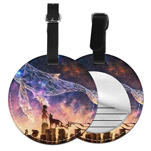 shenguang Travel Luggage Tags Anime Girl Dream Luggage Tags Suitcases Baggage Bags Adjustable Strap Leather Round Luggage Tag for ID Labels Set 2 PCS