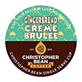 Gingerbread Creme Brulee Decaf Single Cup Christopher Bean Coffee Pods Capsules (18 Count) Compatible with Keurig 2.0 K-Cup Brewers