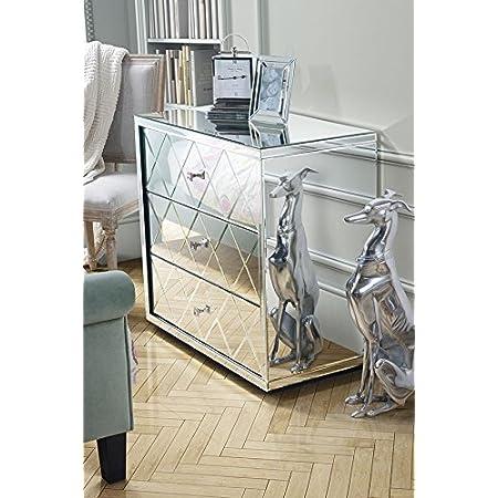 H//B//T Stile Glamour 74 x 91 x 41 cm Armadio a Specchio Argento, Kare Design Luxury-Cassettiera a 3 cassetti Design Stravagante con Maniglie Scintillanti