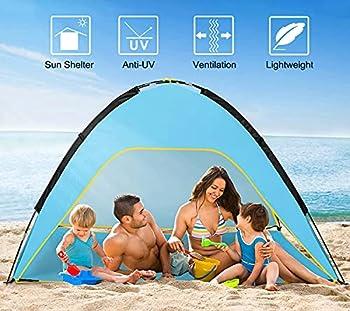 Yuanj Tente de Plage, Tente de Plage, Tente de Plage Anti UV,Tente pour 3-4 Personnes, Tente de Camping pour Famille avec Sac de Transport Facile à Installer, Bleu