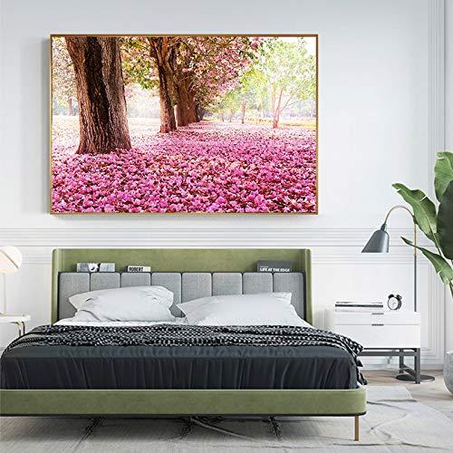 GJQFJBS Hd Ölgemälde Leinwanddruck Malerei Rosa Blume Ölgemälde Wohnzimmer Landschaft Poster Home Decoration A1 30x40 cm