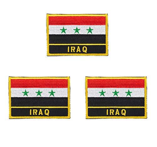 3 Stück Irak bestickte Flaggen-Emblem-Applikation zum Aufbügeln oder Aufnähen.