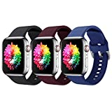 Supore 3 Pack Apple Watch Correa, Compatible con Apple Watch 38mm 42mm 40mm 44mm Correas, Correa de Silicona Suave de Deportiva Repuesto Compatible con Apple Watch SE / iWatch Serie 6 5 4 3 2 1