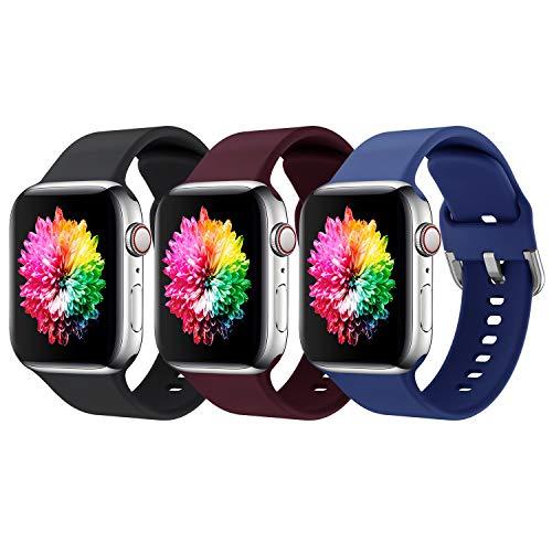 Supore 3 Pack Apple Watch Correa, Compatible con Apple Watch 38mm 42mm 40mm 44mm Correas, Correa de Silicona Suave de Deportiva Repuesto Compatible con Apple Watch SE / iWatch Serie 6 5 4 3 2 1