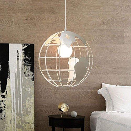 Lampada A Sospensione A Forma Di Globo Lampada Da Soffitto Creative Hanging Metal Wire Gage Lampadario 60W E27 Diametro 28 cm Bianco