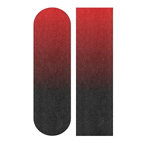 Skateboard Grip Tape Sheet 33x9inch Black Red Bubble Free Waterproof Scooter Grip Tape, Longboard Griptape, Sandpaper for Rollerboard