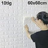 DHOUTDOORS 10 Tlg Tapete Selbstklebend Wandpaneele Weiß Steinoptik Ziegelstein Brick Muster 3D PE-Schaum Wasserdicht 60x60cm Schnelle Leichte Montage Kinderzimmer Schlafzimmer Wohnzimmer Schlafzimmer