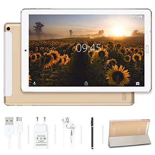 Tablet 10.0 Pulgadas YESTEL Android 10.0 Tablets con 4GB RAM + 64GB ROM/WiFi | Bluetooth | GPS, 8000mAH con Cubierta-Dorado