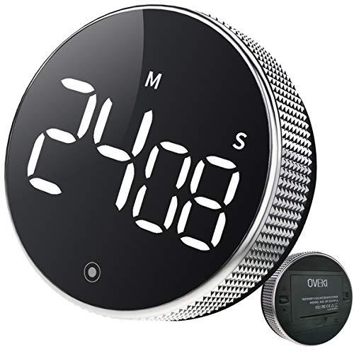 OVEKI Küchentimer, Magnetischer Countdown LED Digital Timer , EIN Knopf Bedienung für Lehrerkinder und ältere Menschen, für die Heimarbeit im Klassenzimmer (mit Helligkeitsschalter)