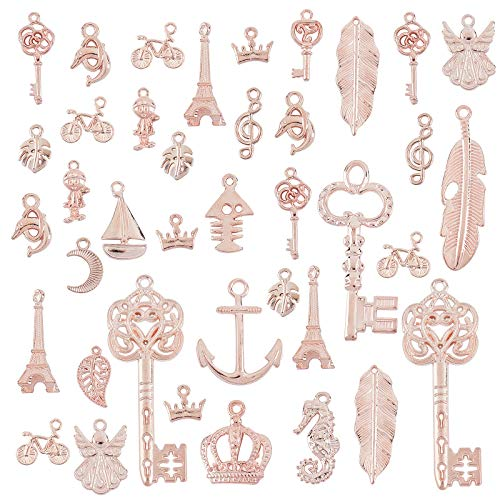 PandaHall About 110 pcs(150g) 21 Styles Alloy Pendants, Skeleton Key/Sea Horse/Moon/Sailing Boat/Leaf Shape Spacer Beads for Earing Bracelet Necklace Choker Jewelry DIY Craft Making, Rose Gold